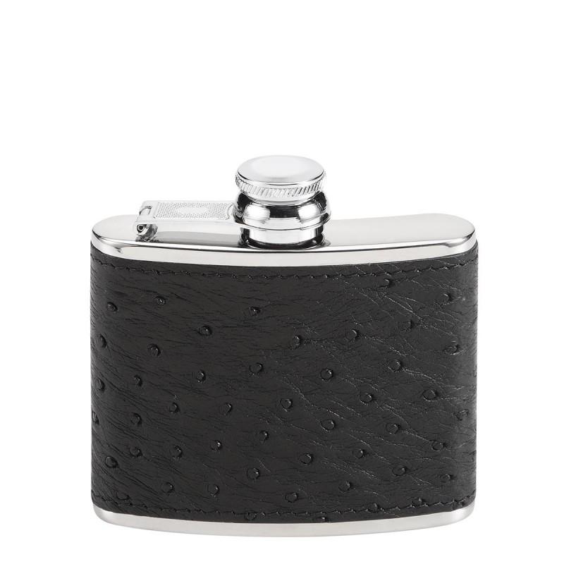 Flasque Luxe Autruche Noir PM