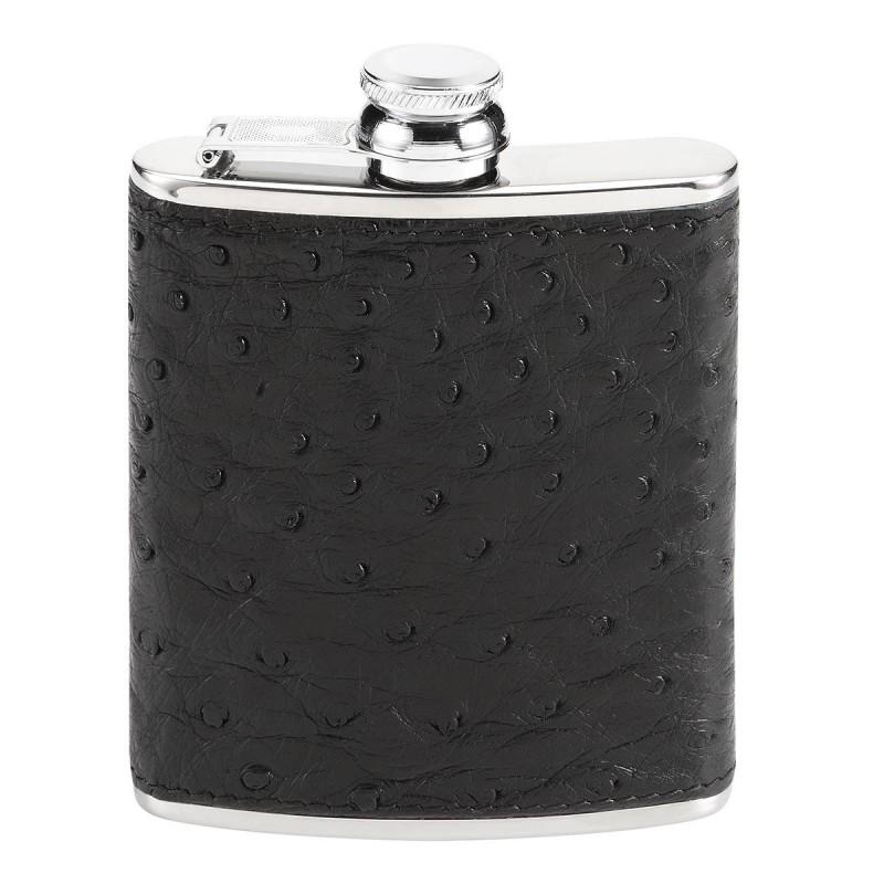 Flasque Luxe Autruche Noir GM